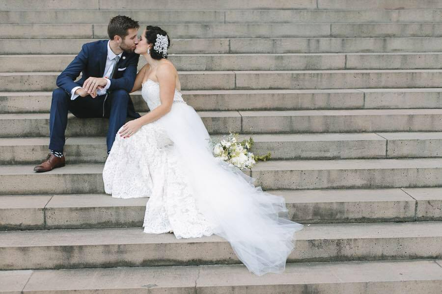 love, hope, flowers, lhflowers, wedding flowers, flowers, Sydney, Sydney florist, sydney library, bride, wedding bouquet, white lace, stairs, kissing, wedding idea, cbd sydney