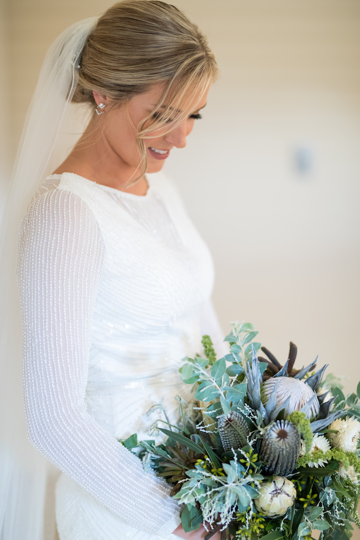 love, hope, flowers, lhflowers, wedding flowers, flowers, Sydney, Sydney florist, native flowers, wedding bouquet, brides, bouquet, southern highlands, centennial, winery, long, lasting, flowers, king protea, wedding dress