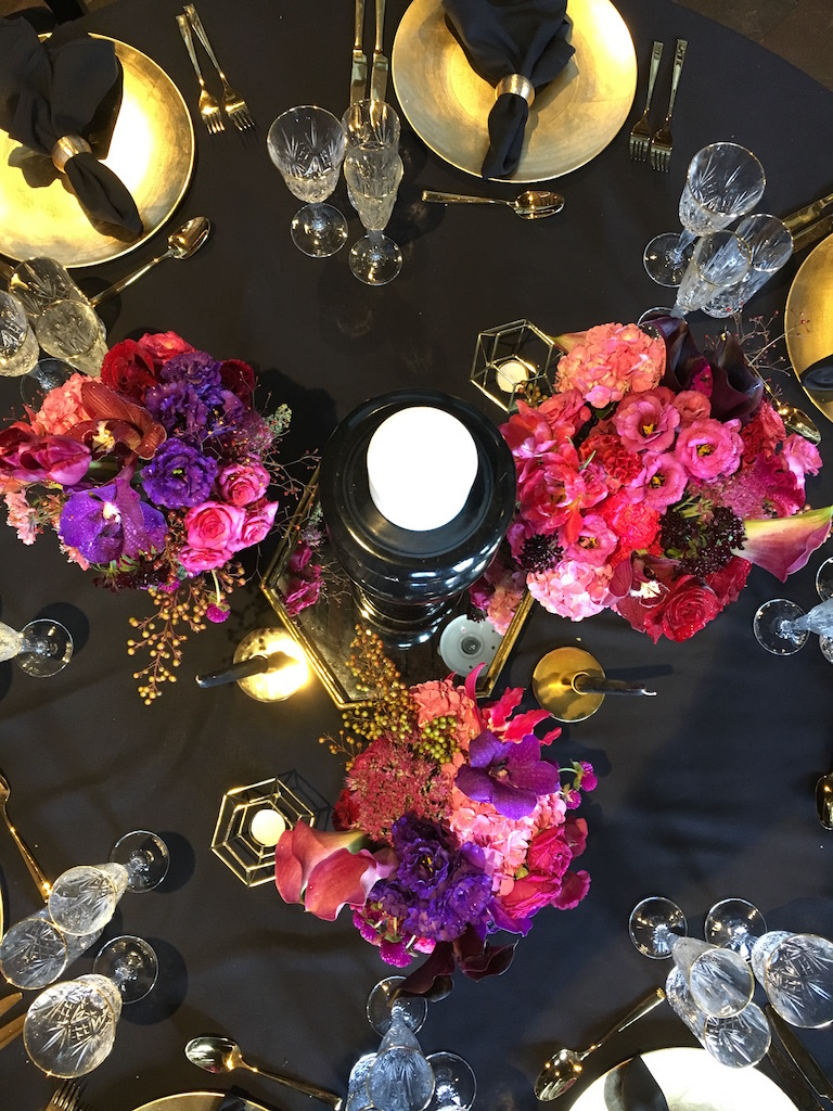 love, hope, flowers, lhflowers, wedding flowers, flowers, Sydney, Sydney florist, ovolo, woolloomooloo, table centre, pieces, black, tablecloth, corporate, function, bright, flowers,