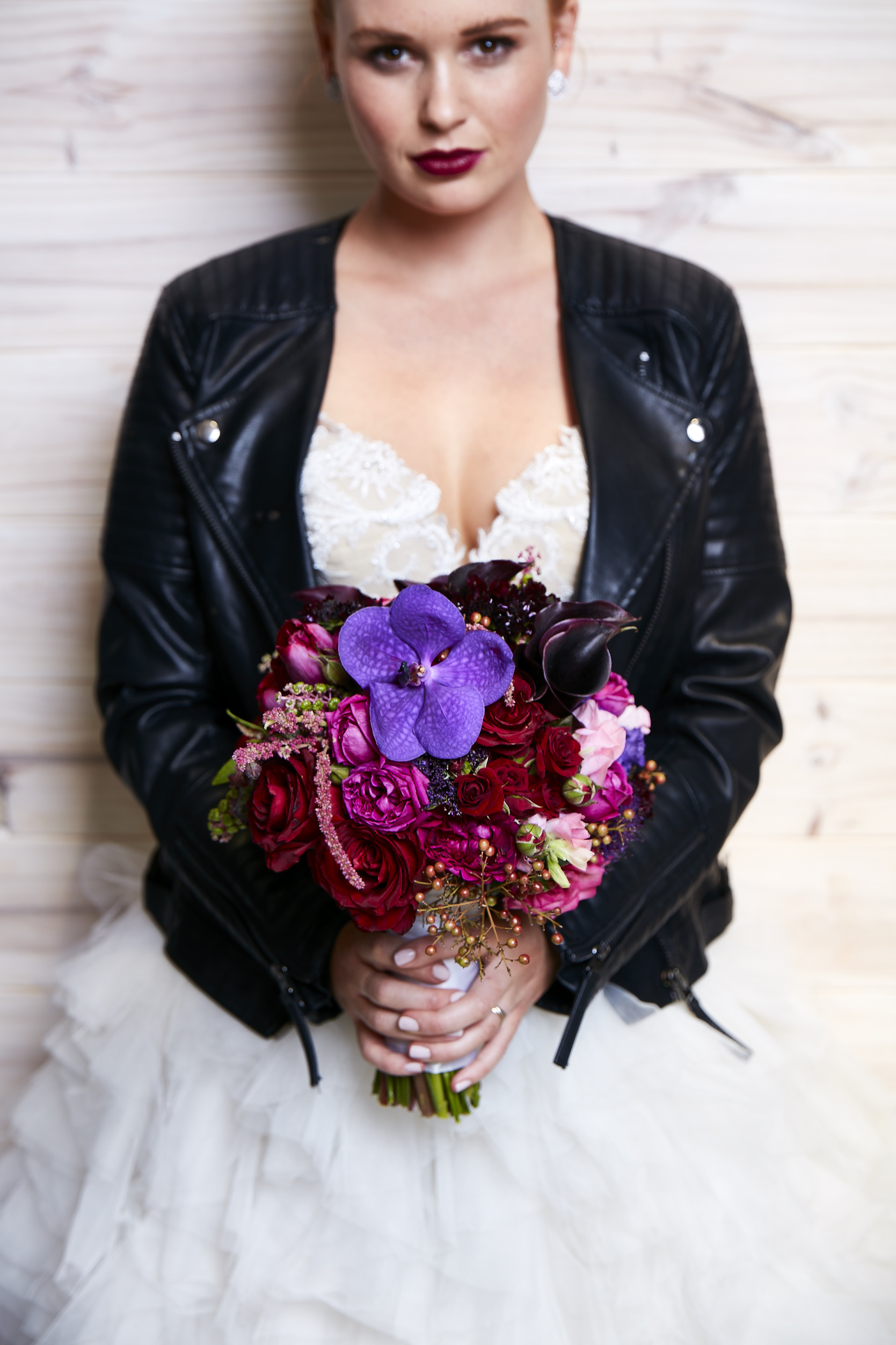 love, hope, flowers, lhflowers, wedding flowers, flowers, Sydney, Sydney florist, ovolo hotel, dark wedding bouquet, winter wedding, dark flowers, plum coloured flowers, bride, leather jacket, wedding dress