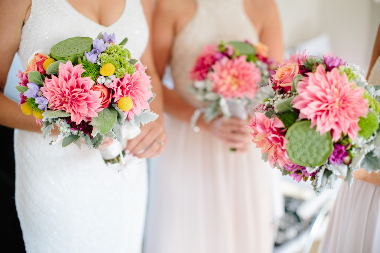 love, hope, flowers, lhflowers, wedding flowers, flowers, Sydney, Sydney florist, wedding bouquets, dahlias, billy buttons, bright bridal bouquets, bridal party flowers, colourful wedding bouquets, summer