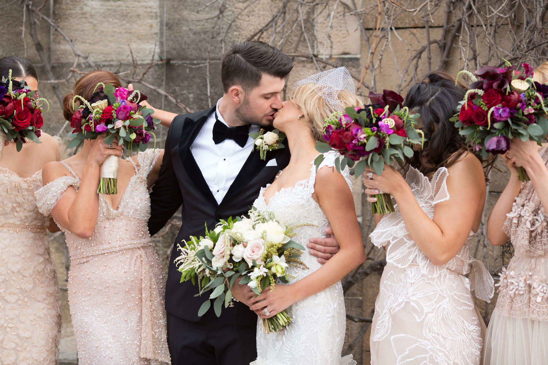 love, hope, flowers, lhflowers, wedding flowers, flowers, Sydney, Sydney florist, bridal party, dark, flowers, winter, wedding, kissing, photo, one, tree, hill, plum, coloured, flowers