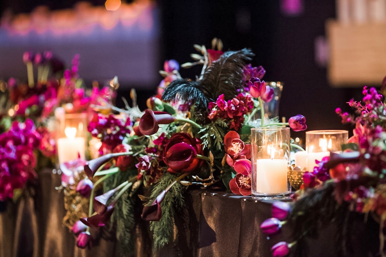love, hope, flowers, lhflowers, wedding flowers, flowers, Sydney, Sydney florist, merivale hotel, elegant, classic, ballroom, winter wedding, bridal table flowers, dark flowers, plum coloured flowers