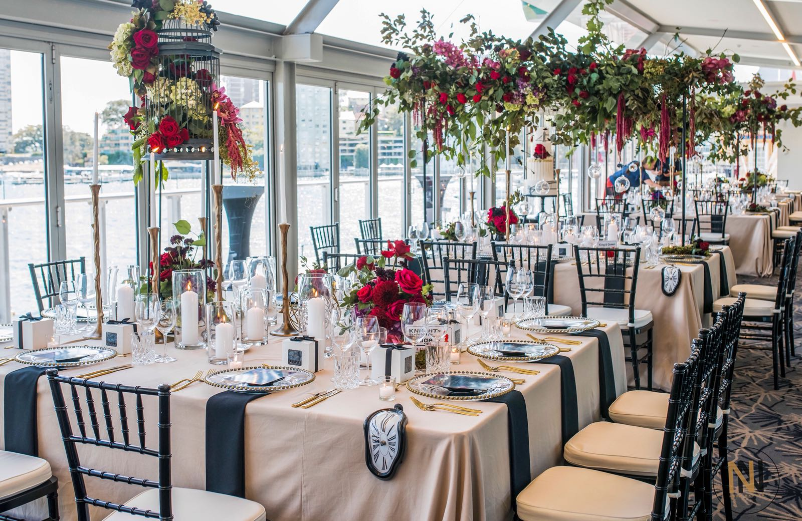 love, hope, flowers, lhflowers, wedding flowers, flowers, Sydney, Sydney florist, crystal ballroom, grand ballroom, sunset room, colourful wedding, guest table flowers, hanging flowers, red roses