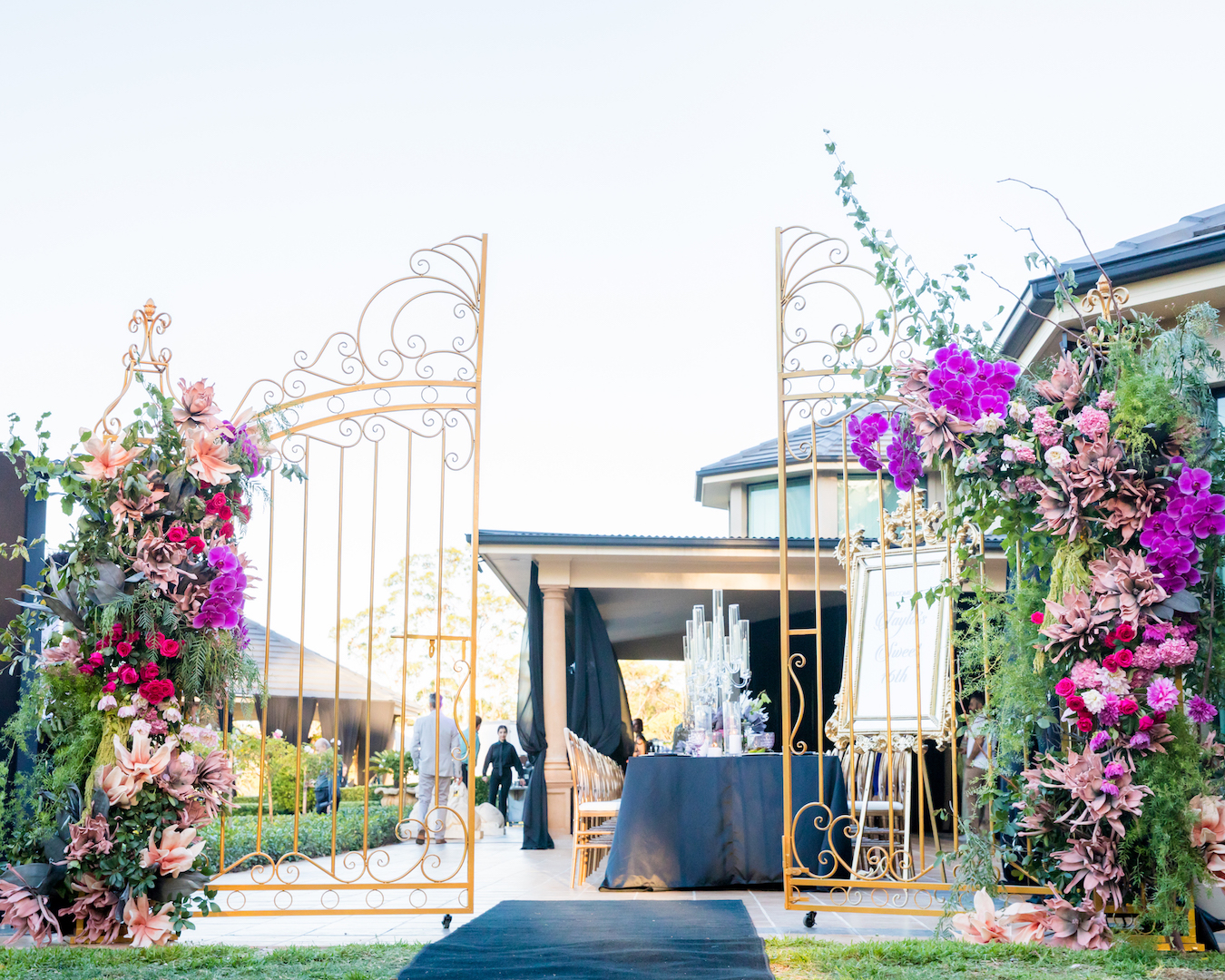 love, hope, flowers, lhflowers, wedding flowers, flowers, Sydney, Sydney florist, private function, sweet, 16, birthday, orchids, destination event, floral entrance, glenorie, garden roses,