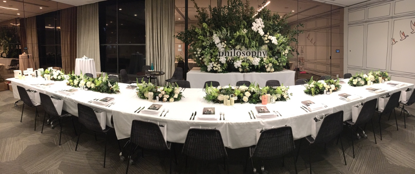 love, hope, flowers, lhflowers, wedding flowers, flowers, Sydney, Sydney florist, corporate breakfast, philosophy, media launch, long table centrepieces, orchids, large floral display, floral wall