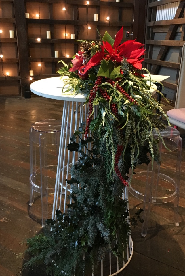 love, hope, flowers, lhflowers, wedding flowers, flowers, Sydney, Sydney florist, cascading flowers, draping flowers off table, ovolo hotel, corporate function, christmas flowers, christmas in july, table centre piece, holly