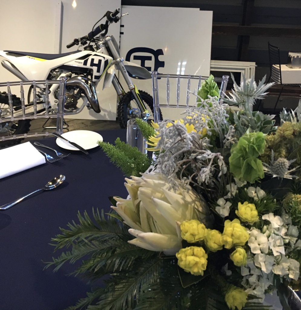 love, hope, flowers, lhflowers, wedding flowers, flowers, Sydney, Sydney florist, husqvarna, corporate dinner, long lasting flowers, white king protea, motor bike, ovolo hotel, table centre pieces