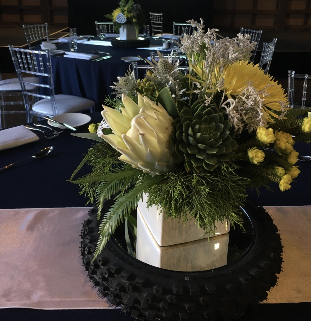 love, hope, flowers, lhflowers, wedding flowers, flowers, Sydney, Sydney florist, husqvarna, corporate dinner, white king protea, long lasting flowers, table centre piece, succulents, motorbike,