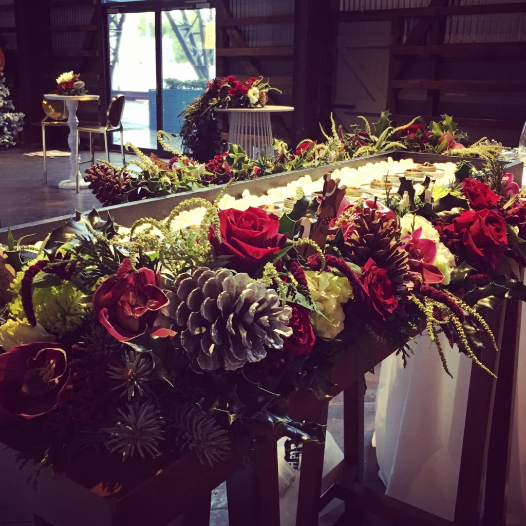 love, hope, flowers, lhflowers, wedding flowers, flowers, Sydney, Sydney florist, ovolo hotel, smores, christmas in july, christmas function, table centrepiece, chocolate, corporate function,  christmas flowers